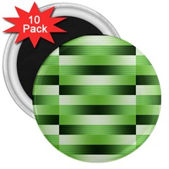 Pinstripes Green Shapes Shades 3  Magnets (10 Pack)