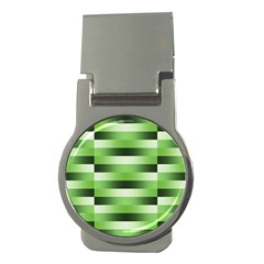 Pinstripes Green Shapes Shades Money Clips (round)  by Nexatart