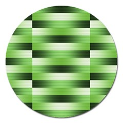 Pinstripes Green Shapes Shades Magnet 5  (round)
