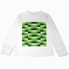 Pinstripes Green Shapes Shades Kids Long Sleeve T Shirts