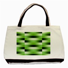 Pinstripes Green Shapes Shades Basic Tote Bag