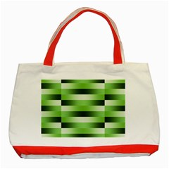 Pinstripes Green Shapes Shades Classic Tote Bag (red)