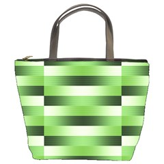 Pinstripes Green Shapes Shades Bucket Bags