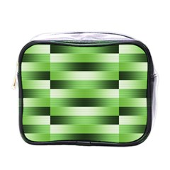 Pinstripes Green Shapes Shades Mini Toiletries Bags