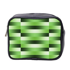 Pinstripes Green Shapes Shades Mini Toiletries Bag 2 Side