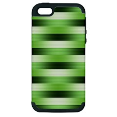 Pinstripes Green Shapes Shades Apple Iphone 5 Hardshell Case (pc+silicone)