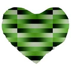 Pinstripes Green Shapes Shades Large 19  Premium Heart Shape Cushions by Nexatart