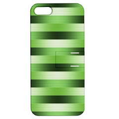 Pinstripes Green Shapes Shades Apple Iphone 5 Hardshell Case With Stand
