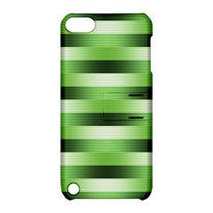 Pinstripes Green Shapes Shades Apple Ipod Touch 5 Hardshell Case With Stand