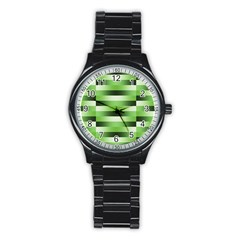Pinstripes Green Shapes Shades Stainless Steel Round Watch