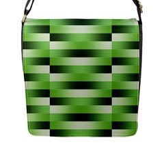 Pinstripes Green Shapes Shades Flap Messenger Bag (l)
