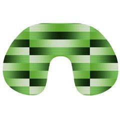 Pinstripes Green Shapes Shades Travel Neck Pillows