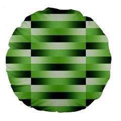 Pinstripes Green Shapes Shades Large 18  Premium Flano Round Cushions