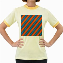 Diagonal Stripes Striped Lines Women s Fitted Ringer T Shirts