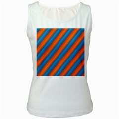 Diagonal Stripes Striped Lines Women s White Tank Top