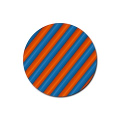 Diagonal Stripes Striped Lines Rubber Round Coaster (4 Pack)