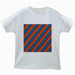 Diagonal Stripes Striped Lines Kids White T Shirts