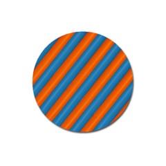 Diagonal Stripes Striped Lines Magnet 3  (round)