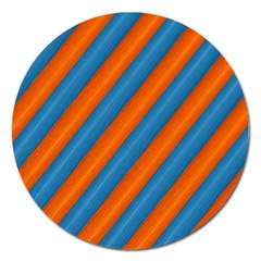 Diagonal Stripes Striped Lines Magnet 5  (round)