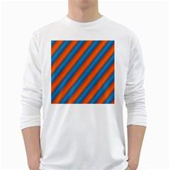 Diagonal Stripes Striped Lines White Long Sleeve T Shirts