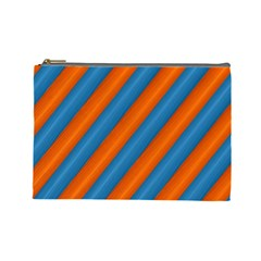 Diagonal Stripes Striped Lines Cosmetic Bag (large)  by Nexatart