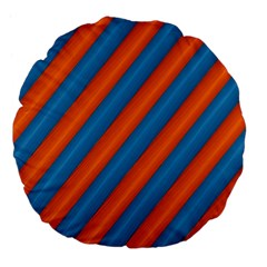 Diagonal Stripes Striped Lines Large 18  Premium Flano Round Cushions