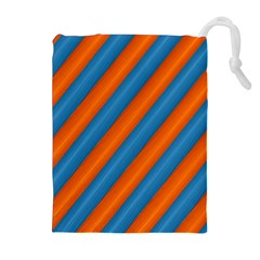 Diagonal Stripes Striped Lines Drawstring Pouches (extra Large)