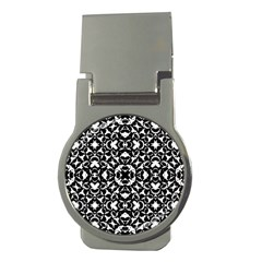 Black And White Geometric Pattern Money Clips (round)  by dflcprints