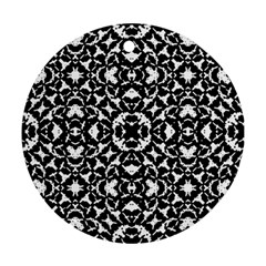 Black And White Geometric Pattern Round Ornament (two Sides) by dflcprints