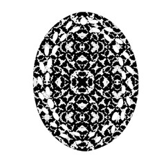 Black And White Geometric Pattern Oval Filigree Ornament (two Sides) by dflcprints