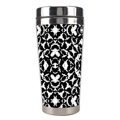 Black And White Geometric Pattern Stainless Steel Travel Tumblers by dflcprints