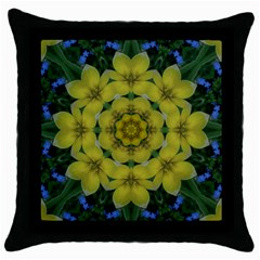 Fantasy Plumeria Decorative Real And Mandala Throw Pillow Case (black) by pepitasart