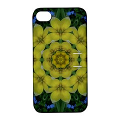 Fantasy Plumeria Decorative Real And Mandala Apple Iphone 4/4s Hardshell Case With Stand by pepitasart