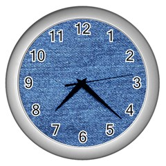 Blue Denim Wall Clocks (silver)  by snowwhitegirl