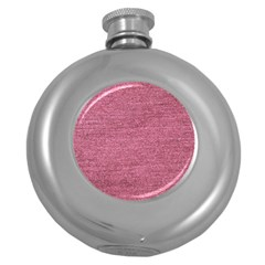Pink  Denim Round Hip Flask (5 Oz) by snowwhitegirl