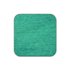 Green Denim Rubber Coaster (square)  by snowwhitegirl