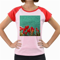Green Denim Flowers Women s Cap Sleeve T Shirt by snowwhitegirl