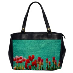 Green Denim Flowers Office Handbags by snowwhitegirl