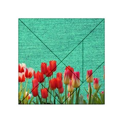 Green Denim Flowers Acrylic Tangram Puzzle (4  X 4 ) by snowwhitegirl