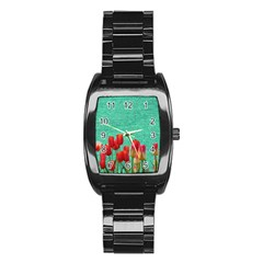 Green Denim Flowers Stainless Steel Barrel Watch by snowwhitegirl
