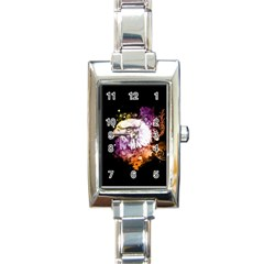 Awesome Eagle With Flowers Rectangle Italian Charm Watch by FantasyWorld7