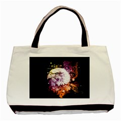 Awesome Eagle With Flowers Basic Tote Bag by FantasyWorld7