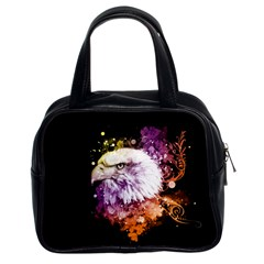 Awesome Eagle With Flowers Classic Handbags (2 Sides) by FantasyWorld7