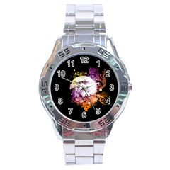 Awesome Eagle With Flowers Stainless Steel Analogue Watch by FantasyWorld7