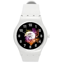 Awesome Eagle With Flowers Round Plastic Sport Watch (m) by FantasyWorld7