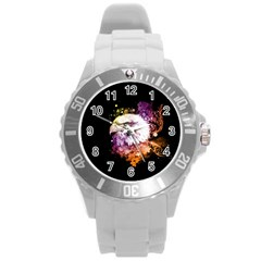 Awesome Eagle With Flowers Round Plastic Sport Watch (l) by FantasyWorld7