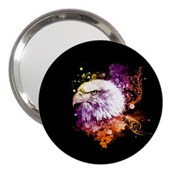 Awesome Eagle With Flowers 3  Handbag Mirrors by FantasyWorld7