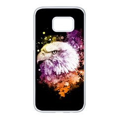 Awesome Eagle With Flowers Samsung Galaxy S7 Edge White Seamless Case by FantasyWorld7