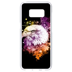 Awesome Eagle With Flowers Samsung Galaxy S8 White Seamless Case by FantasyWorld7