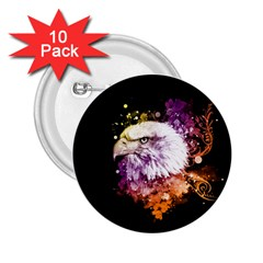 Awesome Eagle With Flowers 2 25  Buttons (10 Pack)  by FantasyWorld7